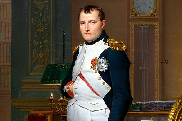 Napoleon portrait by Jacques-Louis David shows is perhaps the most famous painting of the French emperor with one hand tucked out of sight