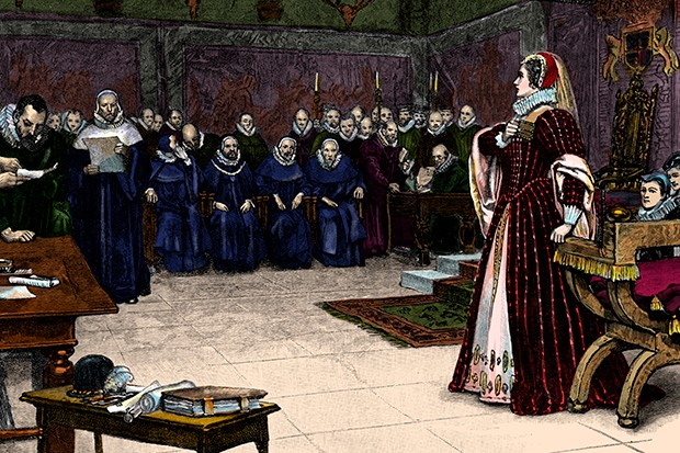 Mary, Queen of Scots during her trial at Fotheringhay Castle – where she was also executed for her alleged role in the Babington Plot