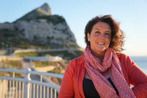 Historian Bettany Hughes in front of the Rock of Gibraltar