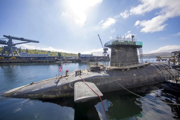 Vanguard-class submarine HMS Vigilant, the top above water