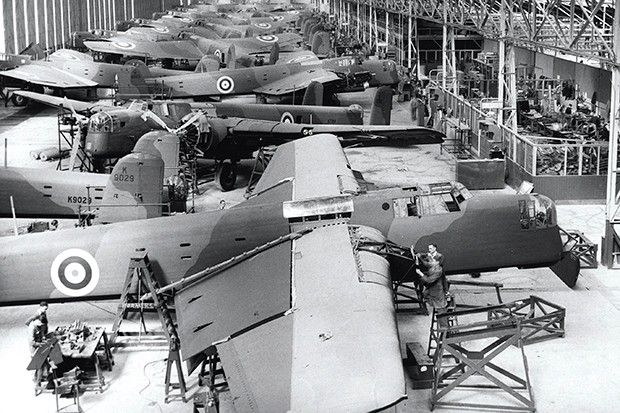 Factory workers assemble Armstrong Whitworth Whitley bombers