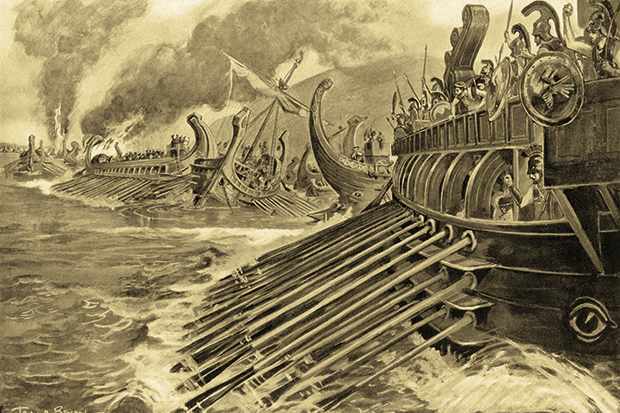 A trieme is rowed towards a naval battle in a scene depicting the battle of Aegospotami in 405 BC