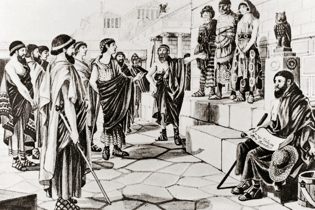 A modern illustration shows prisoners of war being sold into slavery