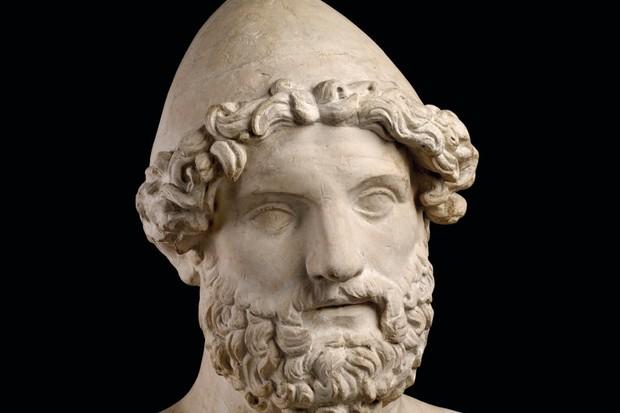 A stone bust of the god Hephaestus