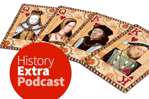 A set of Tudor faces laid out on playing cards