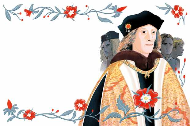 An illustration of Henry VII, surrounded by Tudor roses. In the background there are shadows of those who challenged for his throne.