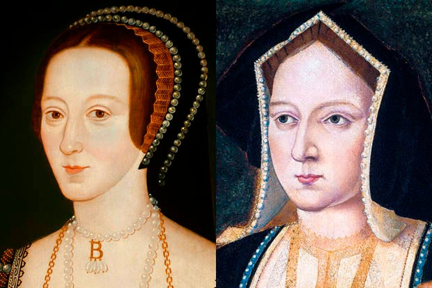 Side-by-side portraits of Henry VIII's first two wives, Anne Boleyn and Catherine of Aragon.