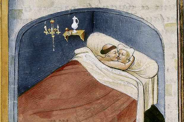 A medieval miniature depicts a monk and a woman in a bed.