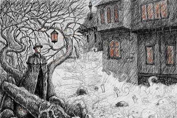 A man goes into a village at night on the eve of Samhain