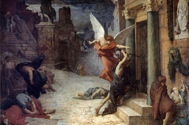 An allegorical depiction of the plague in ancient Rome, an angel batters down a door while people lie sick on the ground