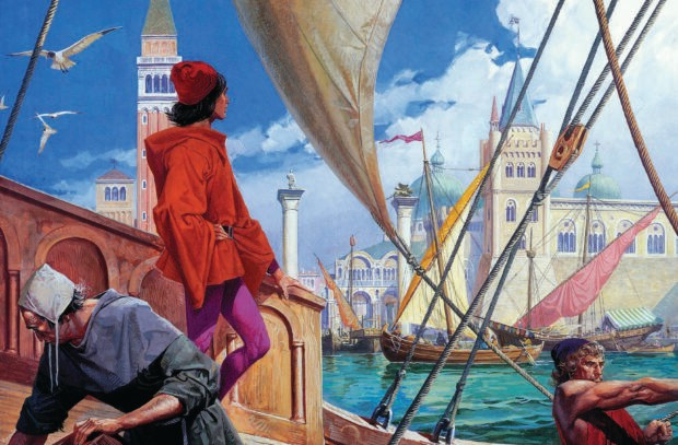 An illustration from The Travels of Marco Polo, showing a teenage Marco on the deck of a ship sailing away from Venice