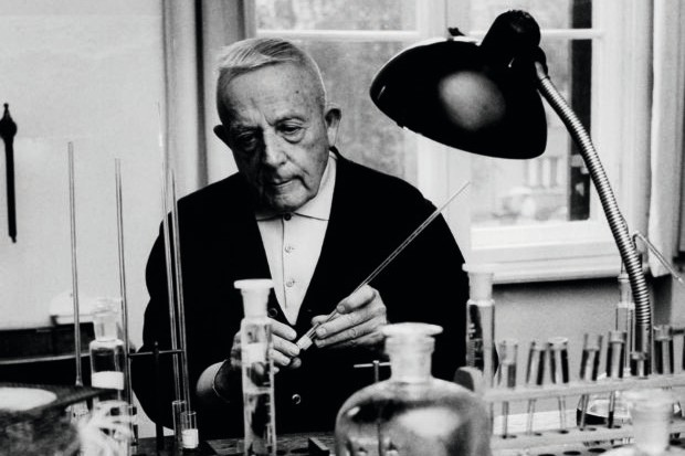 German doctor Otto Warburg at work in his laboratory