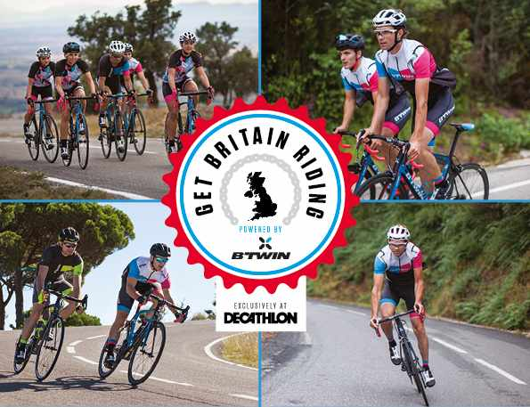 get britain riding photo montage with B'Twin