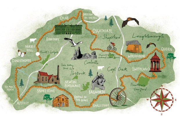 illustrated map cycle routes national forest