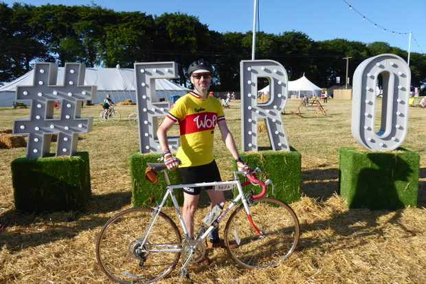 Cycling Plus editor Rob Spedding and his Raleigh Sprint at Eroica Brittania