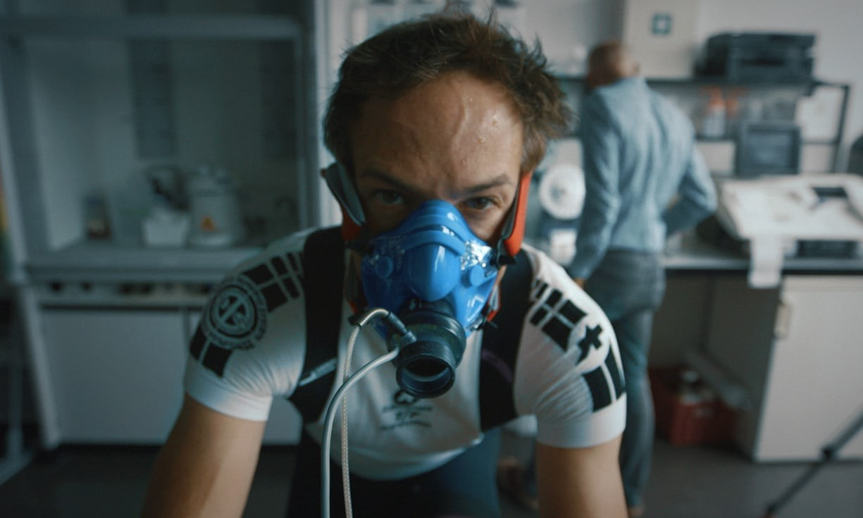 Still image from the drugs in cycling documentary Icarus