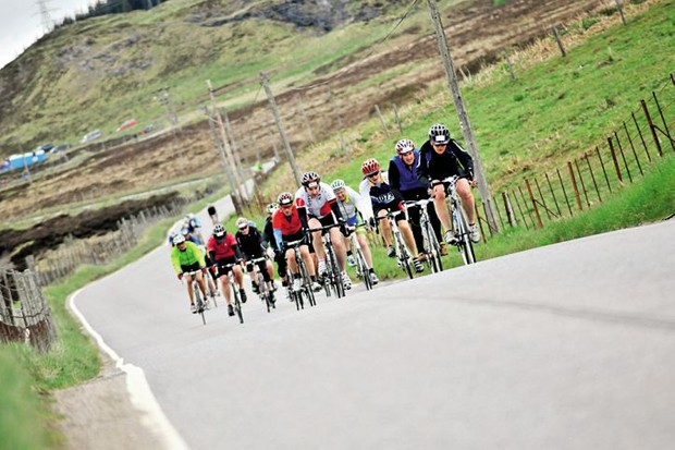 A group of riders in a sportive