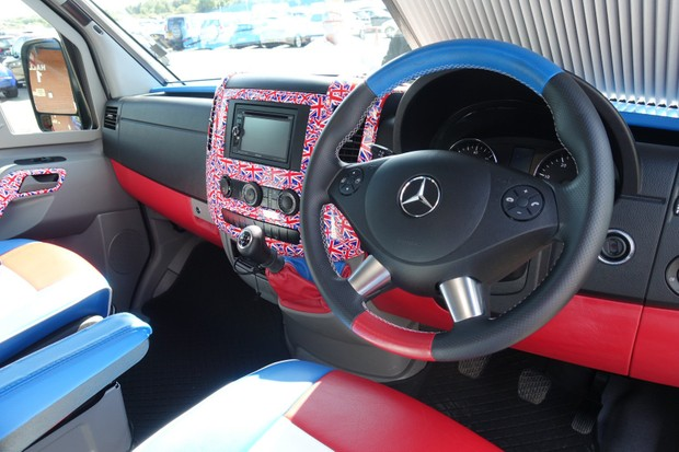 Union Jack dashboard in Bradley Wiggins' motorhome