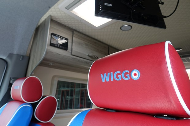 Wiggo embroidery on the seats of Bradley Wiggins' motorhome