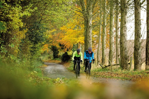Two cyclists riding through a forest in the North Yorkshire moors