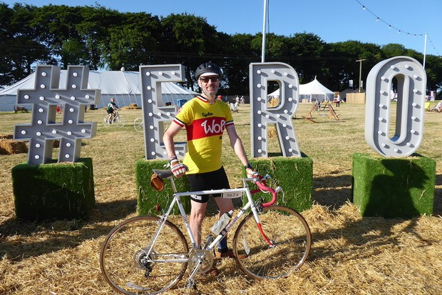 Cyclist at Eroica Brittania 2017 with vintage bicycle and wearing wool cycling clothing