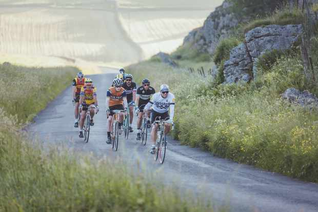 Riders on the roads of the English Peak District during Eroica Brittania 2017