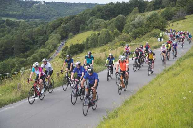Riders on Box Hill in Surrey during the 2017 RideLondon-Surrey 100.