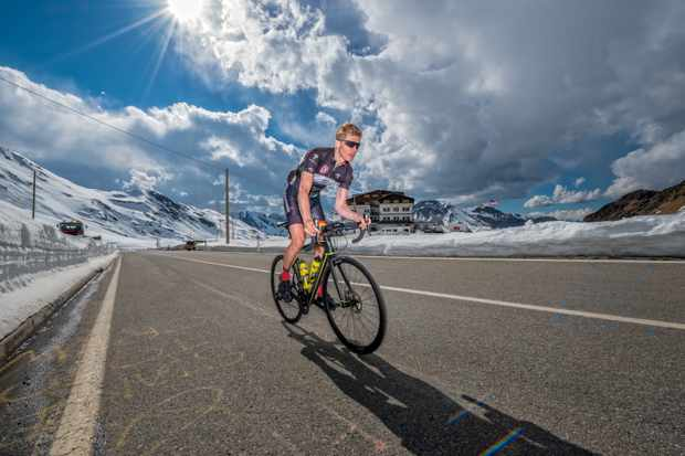 Hayden Groves, author of the Back in the Saddle Cook book riding a stage of the 2017 Giro d'Italia