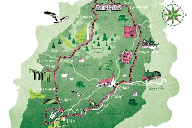 Cycling route map of Denbigh, North Wales
