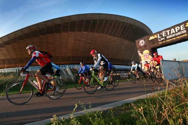 Riders in L'Etape London race around Lee Valley VeloPark in East London