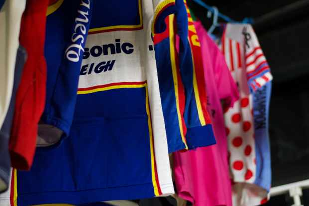 Vintage cycling jerseys on display at the National Cycle Museum in Llandrindod Wells, powys, Wales.