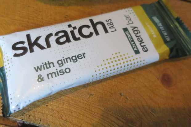 The Miso and Ginger energy bar tastes like a mouthful of Japanese rice snacks, in a good way