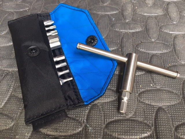 The tool is titanium, the bits S2 steel and the bag made from heavy duty sail cloth
