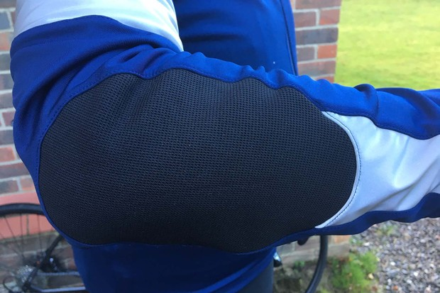The elbows feature inserts of an abrasion resistant fabric thats also breathable and high stretch