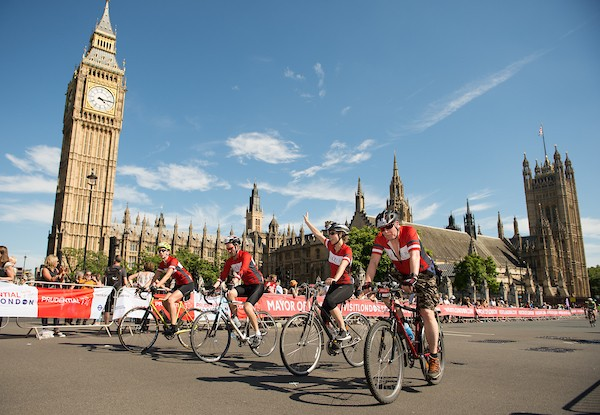 Participants in the Prudential RideLondon-Surrey 100 pass through Parliament Square on their way to the finish on The Mall. Prudential RideLondon is the world's greatest festival of cycling, involving 95,000+ cyclists – from Olympic champions to a free family fun ride - riding in five events over closed roads in London and Surrey over the weekend of 1st and 2nd August 2015. Photo: Thomas Lovelock for Prudential RideLondon See www.PrudentialRideLondon.co.uk for more. For further information: Penny Dain 07799 170433 pennyd@ridelondon.co.uk