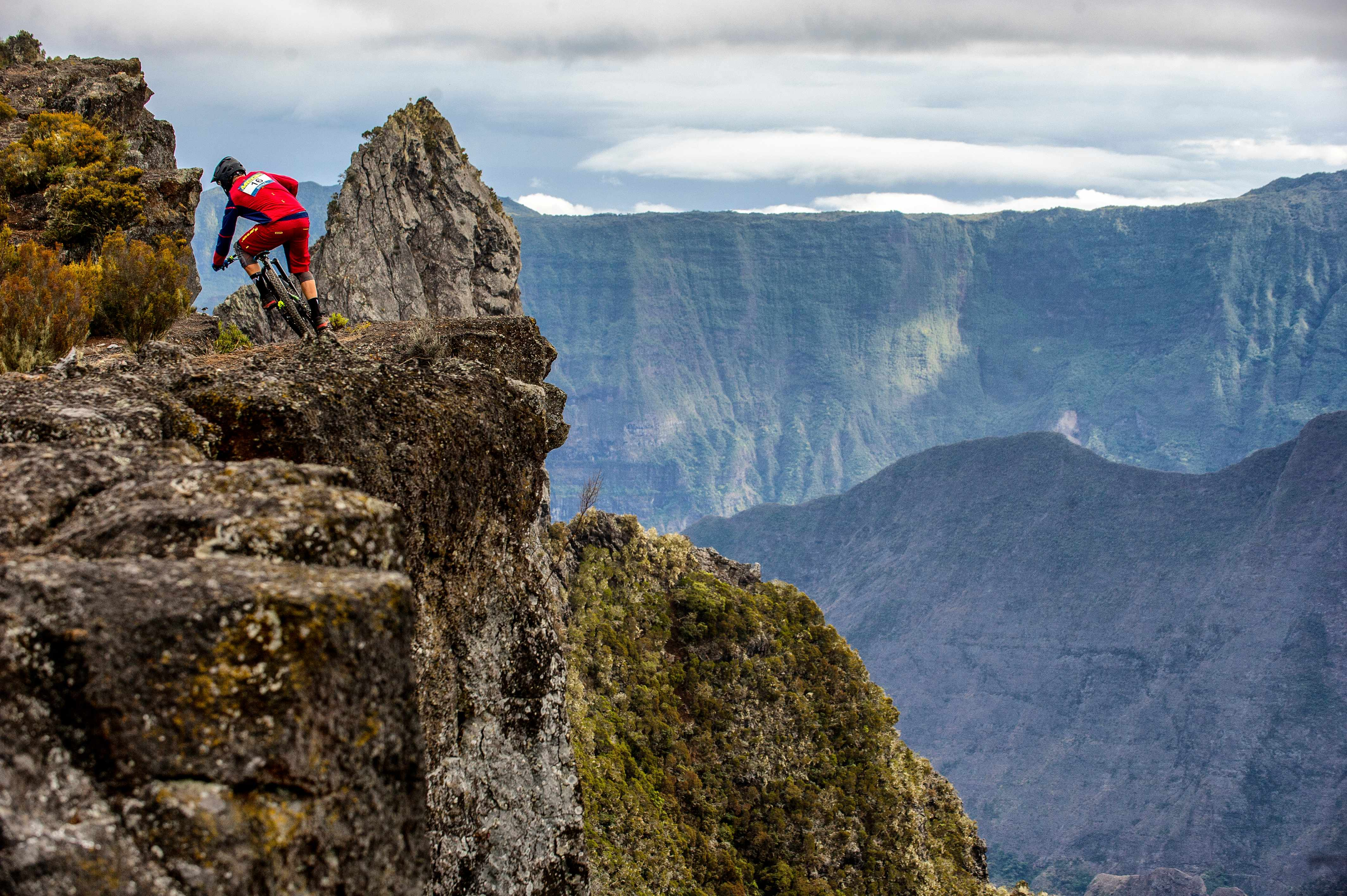 Riding on a cliff edge at Reunion Island
