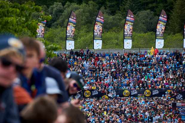 The stands at finish line of Fort William world cup