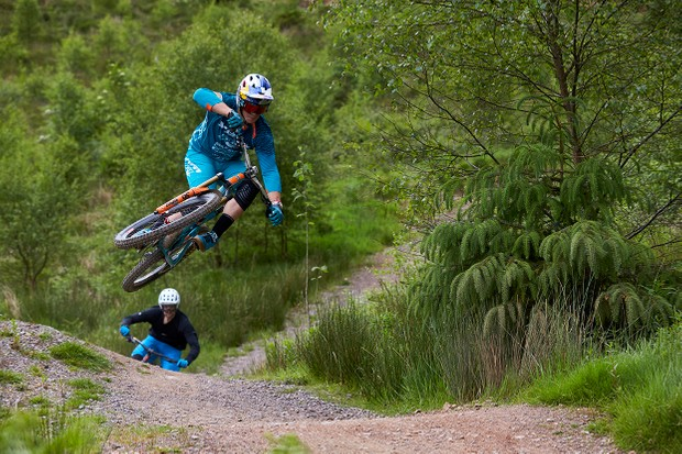 Richie Rude riding with Ed Thomsett at BikePark Wales