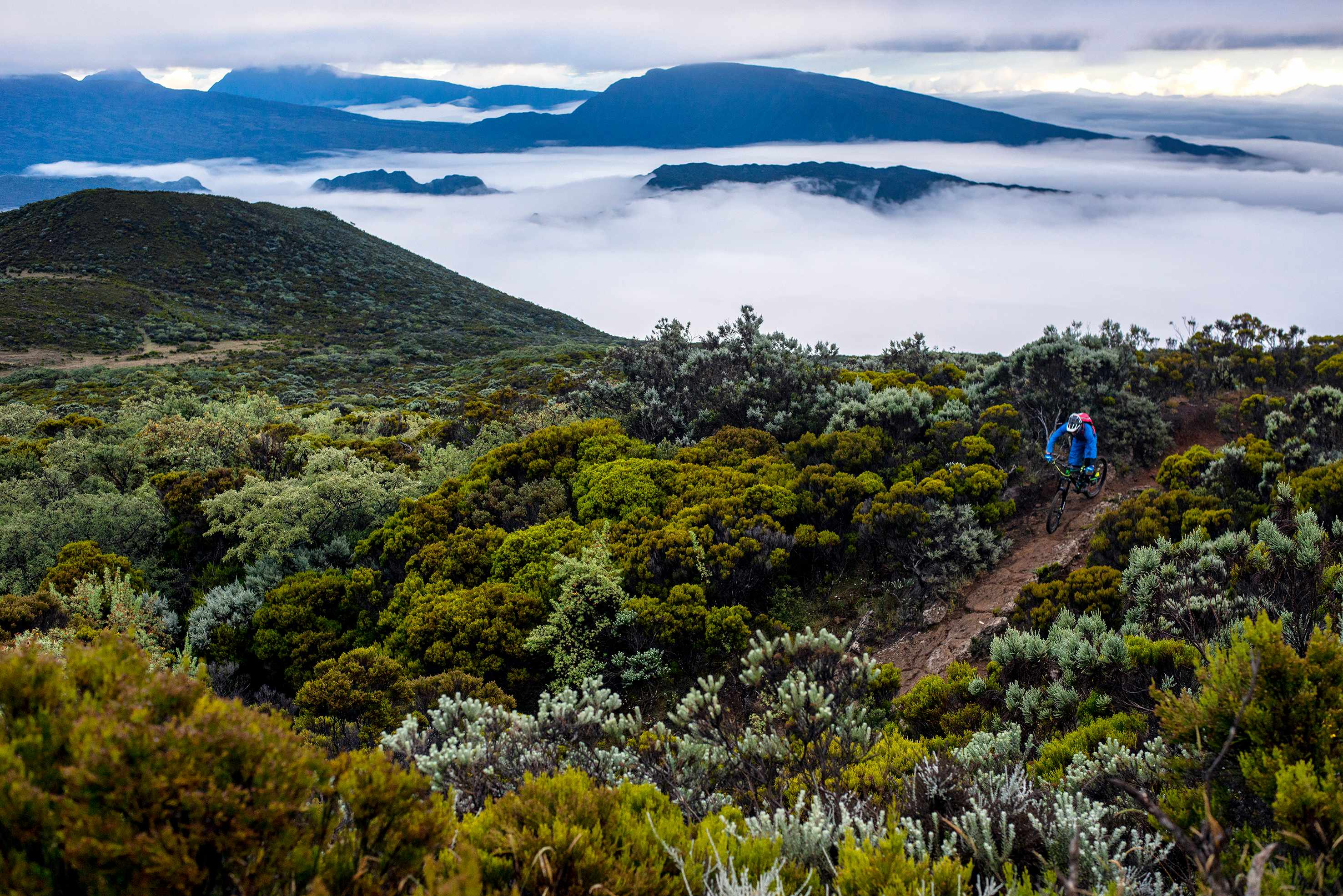 Riding on the volcanic landscapes of Reunion Island