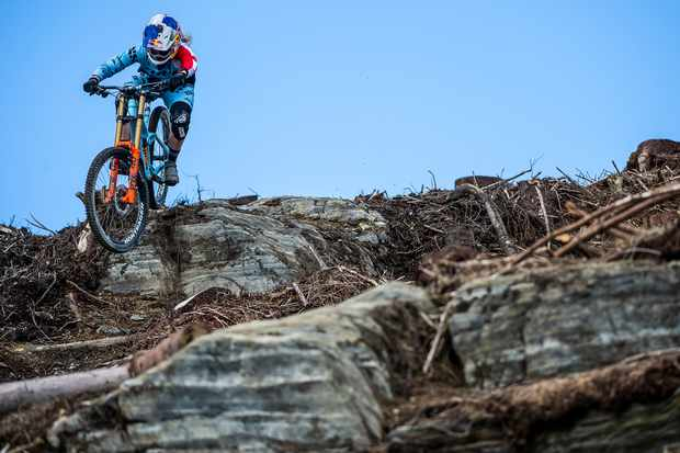 With burly terrain like this on the doorstep, it's no surprise Mid-Wales has produced so many top riders. Rachel makes light work of the rocks