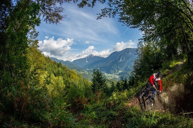 Singletrack in Slovenia with mountainous backdrop