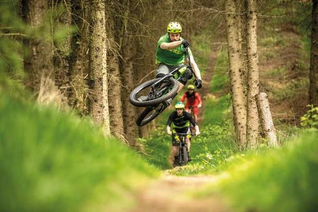 Jump shot of e-mountain bike