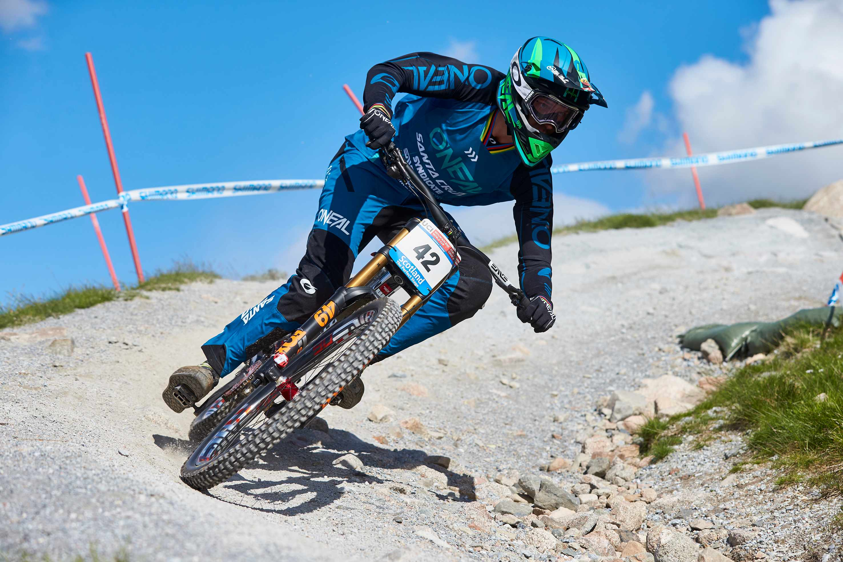 South African Greg Minnaar racing at Fort William