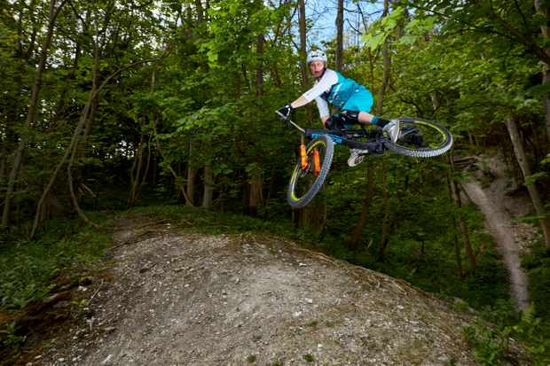 Bernard pulls a massive whip on his home trails in Surrey Hills. Credit: Steve Behr