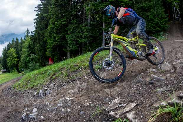 Doing 19 runs on the Pleney black track in Morzine, France was enough to put the Fox 36 through its paces. Credit: Andy Lloyd