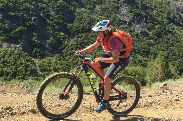 Tracy Moseley climbing on her Trek Fuel EX at Downieville