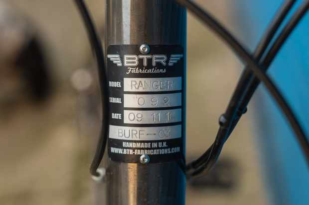 Each BTR bike is unique and the headtube badge is like an ID tag Photo: Jacob Gibbins