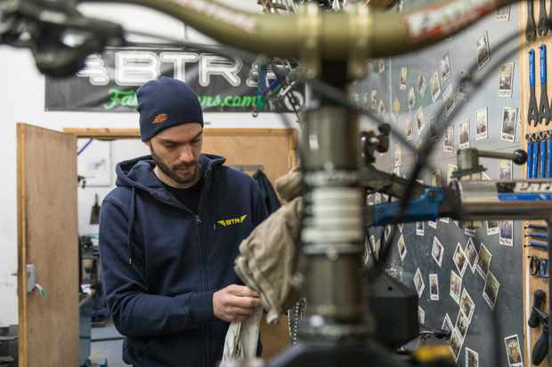 Paul 'Burf' Burford is dedicated to the pursuit of perfection when it comes to building bikes. Photo: Jacob Gibbins