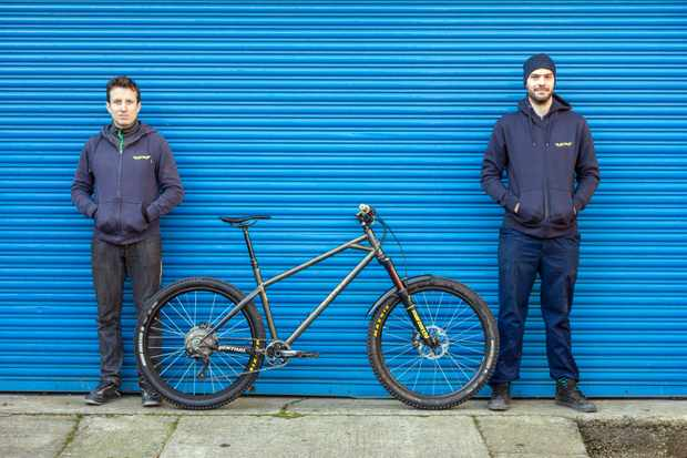 Tam and Burf show off the latest iteration of their Ranger enduro hardtail. Photo: Jacob Gibbins