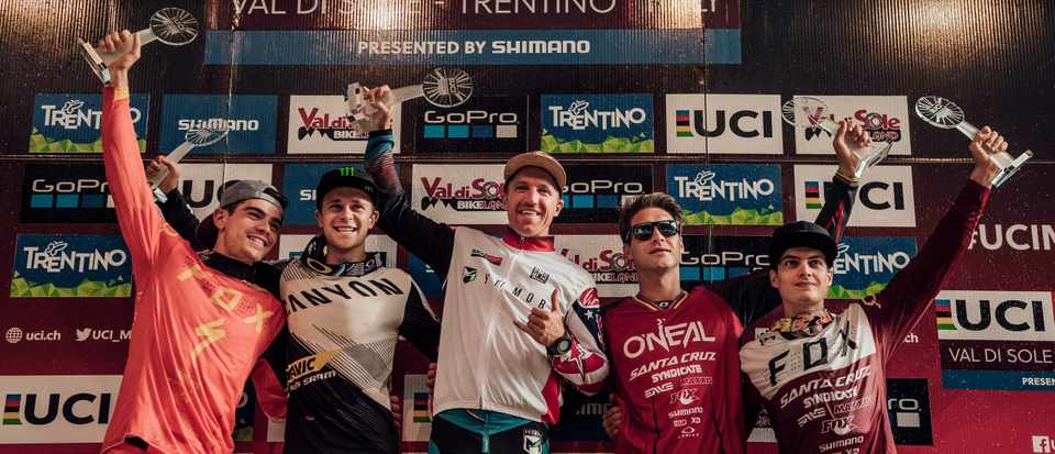 The men's downhill world cup 2017 overall podium. Aaron Gwin took the win. Photo: Red Bull content pool